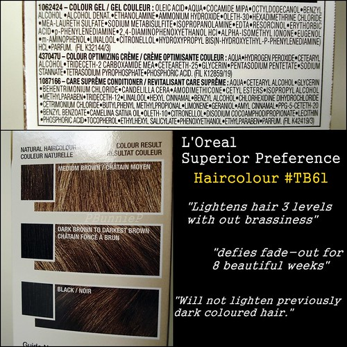 L'Oreal Preference TB61 ingredients