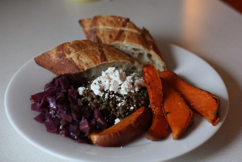 French Lentil Salad, Braised Red Cabbage, Sweet Potato Wedges