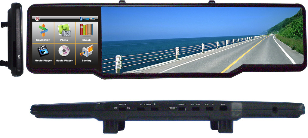 blooth rearview mirror gps