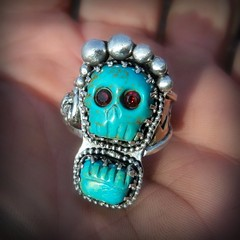 Mictecacihuatl walking with the dead turquoise ring (leespicedragon) Tags: blue original art silver dayofthedead skull aztec ooak jewelry ring cameo handcrafted sterling diasdelosmuertos garnet marvinleebillings oneofakink
