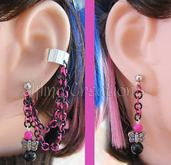 Pink and Black Butterfly Cartilage Chain Earrings