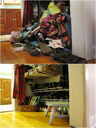 Project Simplify week 1 - Closet floor before and after