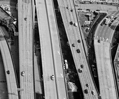 Fail To Understand (Jeremy Brooks) Tags: sanfrancisco california road ca blackandwhite bw usa cars flying blackwhite unitedstates aerial helicopter freeway sanfranciscocounty
