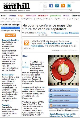 Keynote speaker on AVCJ Melbourne - Feature on Anthill