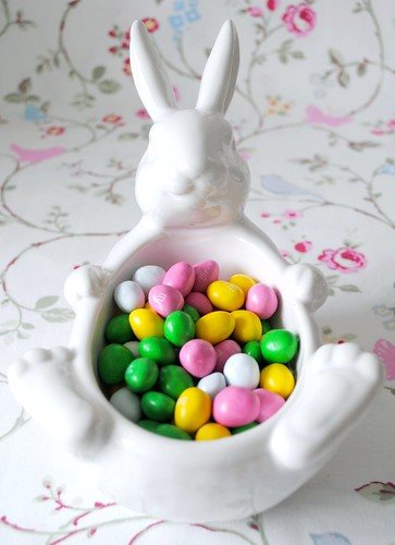 Bunny Bowl filled with Easter Eggs