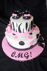 "Pink and black baby shower cake • <a style=""font-size:0.8em;"" href=""http://www.flickr.com/photos/60584691@N02/5525360548/"" target=""_blank"">View on Flickr</a>"