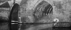 Durham Bridge and Canoe BW (Clandrew) Tags: bridge bw reflection water river kayak durham canoe tsc clandrew thesundaychallenge