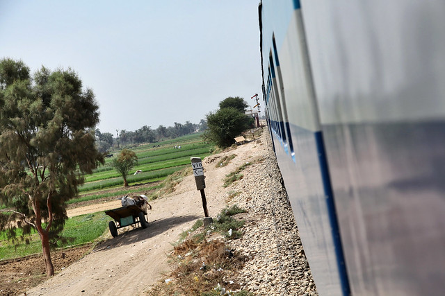 エジプト 列車でルクソールからアスワンへ 車窓から見たのどかな農村風景