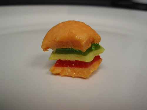 gummi burger, half eaten