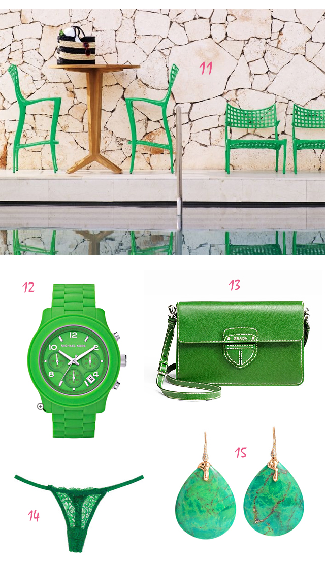 Kelley Green Things - 3, green outdoor chairs, green michael kors watch, green prada crossbody bag, green underwear, green earrings, turquoise