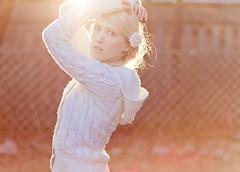 XXXVII {fences} (Shandi-lee) Tags: light red portrait orange brown sunlight selfportrait flower nature girl pose hair march sweater spring warm soft alone arms pastel warmth naturallight lensflare blonde blondehair braid sunflare flowerinhair braidinhair shandilee