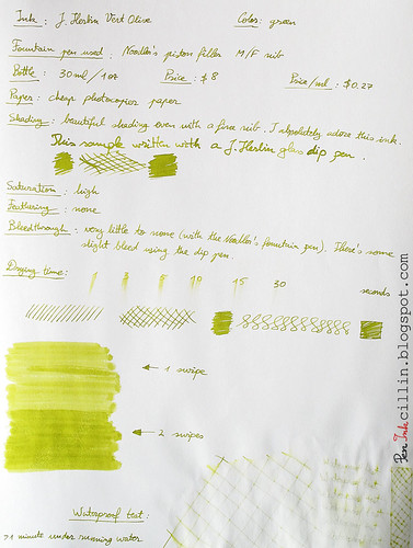 J Herbin Vert Olive ink review on photocopier paper