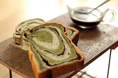 green tea red bean swirl bread