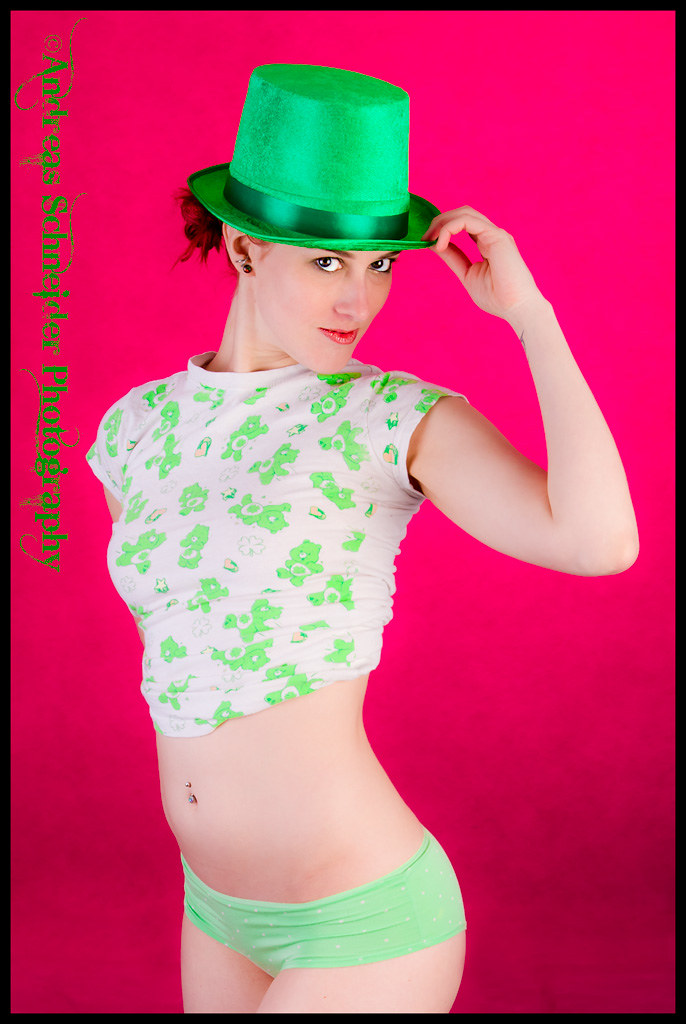 Happy St. Patrick's Day everyone. A cute model in an adorable t-shirt and green St. Paddy's day hat.