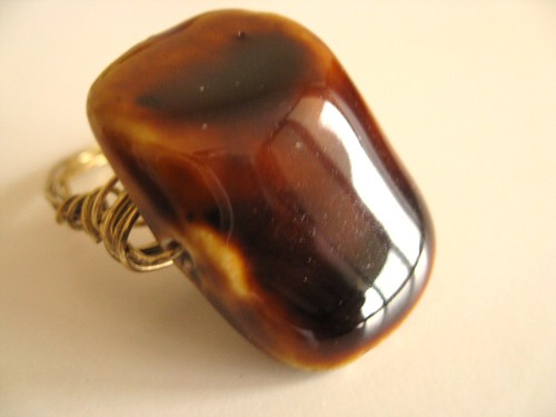Caramel Fudge ceramic wire wrapped ring gold by Vitrine
