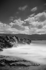 """Burnt"" - Bellambi Beach (Luke Peterson Photography) Tags: sky hot beach wet water clouds rocks long exposure sandy sunny breakwater belambi"