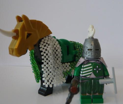 Custom minifig custom minifig Green Feudal knight with armored horse
