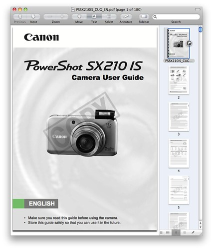 Canon SX210 IS Manual