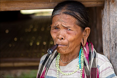 Granny Smoking (Ursula in Aus (Away)) Tags: portrait woman female pipe laos lao ethnicminority attapeu lawae earthasia thaitextilesociety monkmer puwong