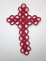 tatted red loop cross