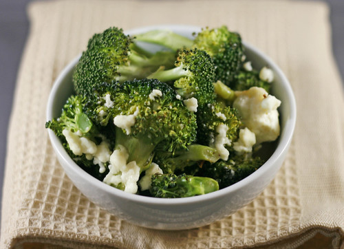 Roasted Broccoli with Garlic and Feta