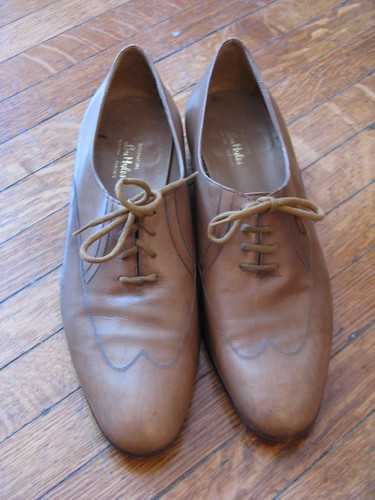 Tan Leather Wingtip Oxfords by Lou Miles