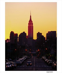Spring Sunset over Empire State Building (Eddie_NewYorkNature) Tags: nyc newyorkcity sunset sun newyork skyline sunrise dawn dusk newyorkskyline empirestatebuilding sunnyside newyorksunset springsunset newyorknature