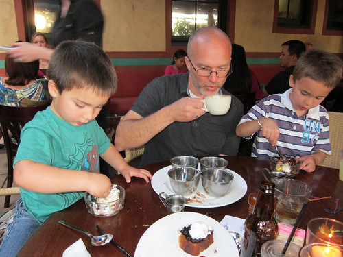 The boys dig in to their super sundae