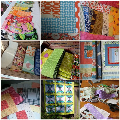 Quilts for Quake Survivor strips and quilt submissions.