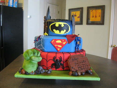 superheroes, Hulk, Spiderman, Superman, Batman, cake, fondant