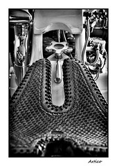 Custom saddle (Artico7) Tags: bike motorbike metal chrome leather saddle custommade engraved sofisticated split gap exposition caorle italy passion detail handmade handbuilt bw blackwhite blackandwhite biancoenero monochrome fuji xe1