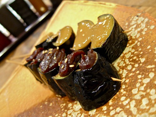 Nasu Dengaku baked in two ways, with white and red miso