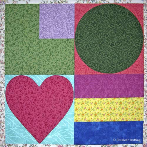 Love Stamp Quilt Block by Elizabeth Ruffing, based on 2002 Love Stamp by Michael Osborne from the US Post Office