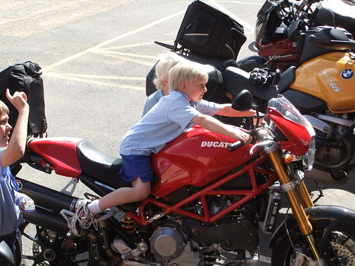 Kids love the Ducati at Braidwood