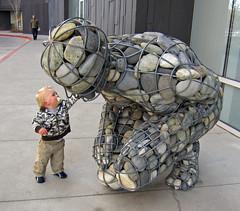 Gabion river stone sculpture (benjaminfish) Tags: art museum nevada january reno 2011