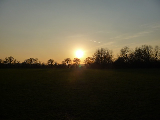 Sunset over the playing fields