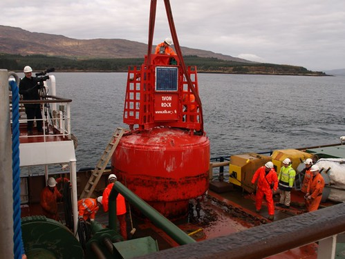 Filming on board the NLB ship Pharos, as it services a buoy in the Sound of Mull.