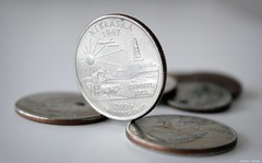 Quarters (J. Sibiga Photography) Tags: money detail metal shiny coins change quarters currency