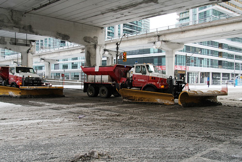 Snowplows in Financial District
