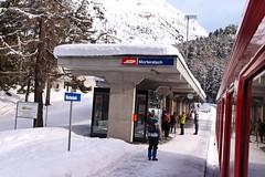 CH RhB Station Morteratsch 28-12-2010 (peters452002) Tags: ch station bahnhof peters452002 swiss rhb switserland zwitserland schweiz snow railways spoorwegen spoor graubunden morteratsch travel 5photosaday