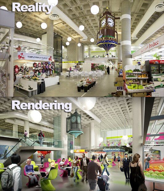 Hamilton Farmers' Market reno: Rendering compared to Actual