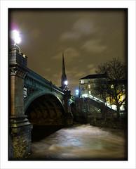 River Kelvin (moi_images) Tags: bridge west tree church water night river lights scotland glasgow spire kelvin end kelvinbridge