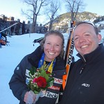 Sarah Freeman (Fernie Alpine Ski Team) with BC Team Head Coach Gregor Druzina following Sarah's bronze medal run at the Aspen Nor-Am Downhill