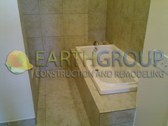 wilmette-bathroom-remodeling_09 (Earthgroup Construction) Tags: green tile bathroom bath board jacuzzi installation bathtub framing remodeling greenboard