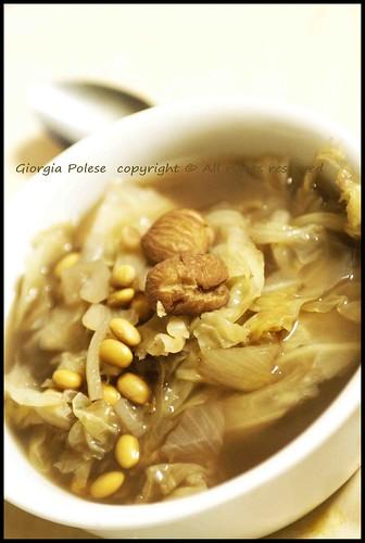 minestra verza soia castagne