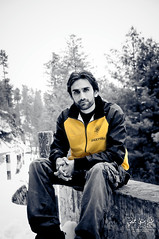 Selective Color Self Portrait..... (Syed Sibt-e-Hassan) Tags: lighting new trees pakistan light portrait people bw blur mountains nature beautiful standing self landscape amazing nikon colorful alone dof unique awesome misc explore valley stunning pakistani feeling punjab nikkor addiction vr wooow 18200mm d90 nikor supershot hazaraprovince