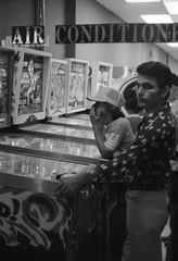 Scan11055ccx (citatus) Tags: pinball parlour yonge street toronto canada 1976 minolta srt 102 bw charles arcade