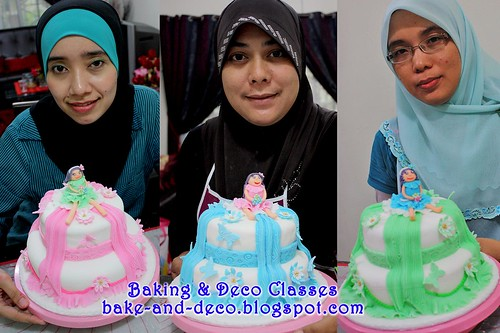 Batch 24 Dec 2010: Two stack fondant cake with figurine
