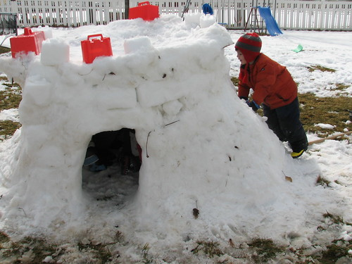 Presidents Day snow fort