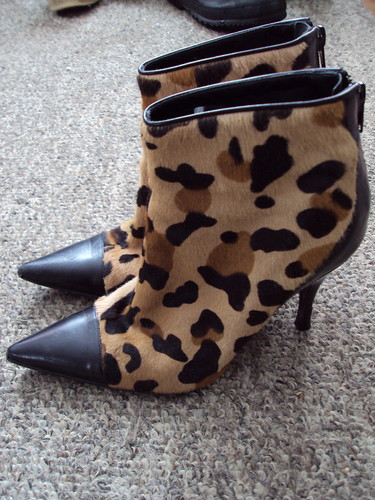 Leopard Print Booties (side view)